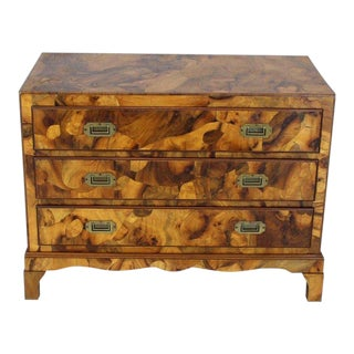 1970s Mid-Century Modern Italian Burl Olive Wood Patch Parquetry 3-Drawer Bachelor Chest For Sale