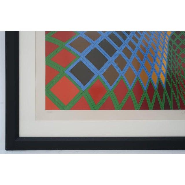 Vintage Vasarely Pencil Signed and Numbered Limited Edition 67/250 Op Art Original Print Custom Framed For Sale - Image 9 of 11