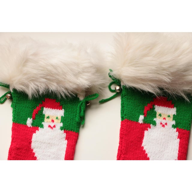 Vintage Hand-Knit Santa & Reindeer Stockings - A Pair - Image 8 of 8