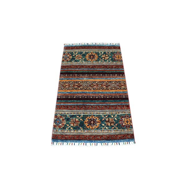 Khorjin Design Colorful Kazak Pure Wool HandKnotted Rug For Sale In New York - Image 6 of 6