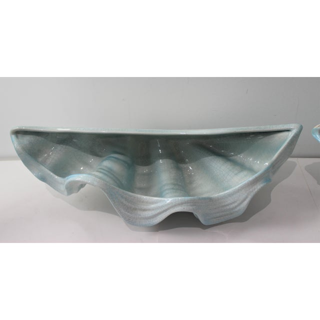 Mid-Century Modern Robins Egg Blue Wall Pockets Cachepot - a Pair For Sale In West Palm - Image 6 of 13