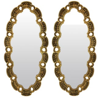 Midcentury Giltwood Mirrors - a Pair For Sale