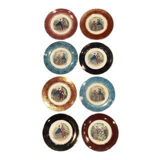 Vintage Early 20th Century Salem China Co. 23 Karat Gold Plates - Set of 8 For Sale