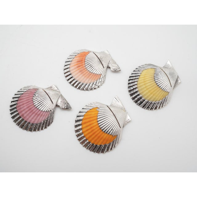 Partially Silvered Cockle Place Card Holders - Set of 4 For Sale - Image 9 of 9