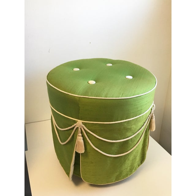 Art Deco Hollywood Regency Green Silk Footstool For Sale - Image 3 of 8