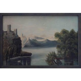 1920s Coastal Mountain Landscape Oil Painting, Framed For Sale