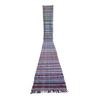 Vintage Handmade Ragrug Runner Rug Extra Long Runner Stair Tread- 2′4″ × 21′6″ For Sale