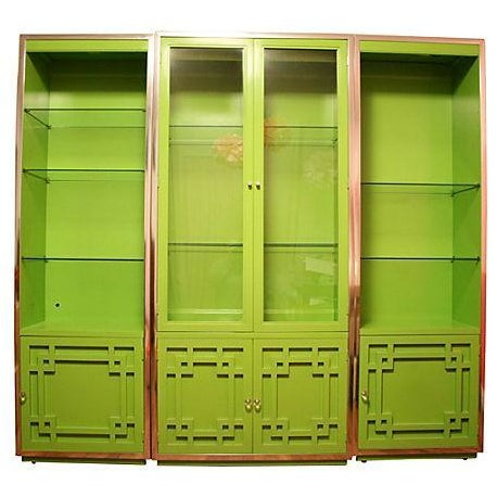 Green Thomasville Fretwork Cabinets - Set of 3 - Image 1 of 7