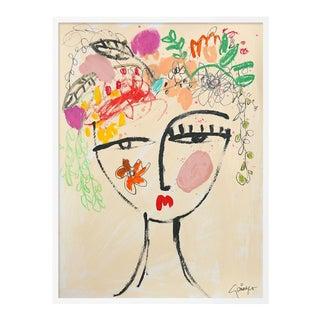 Flowers in Her Hair by Lesley Grainger in White Frame, Medium Art Print For Sale