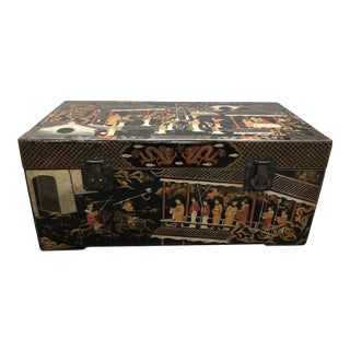 20th Century Chinese Asian Hand-Painted Decorated Black Lacquer Wood Chest For Sale
