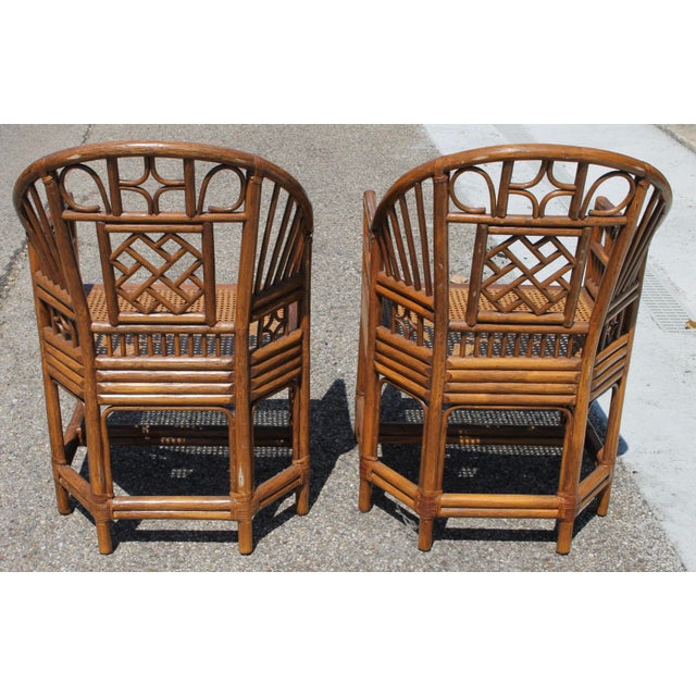 Chinoiserie Bamboo Rattan Brighton Pavilion Chairs With Caning- a Pair For Sale - Image 4 of 11