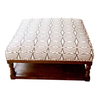 Tribal Print Upholstered Traditional Ottoman For Sale