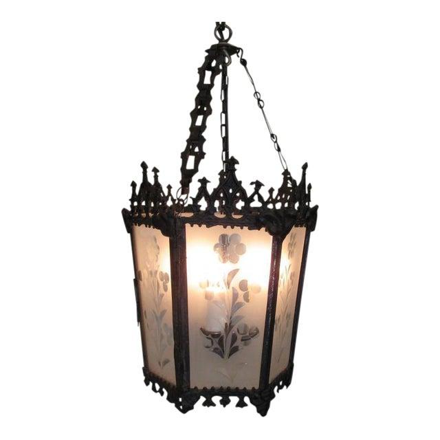 Mid-19th Century New Orleans Gothic Ebonized Brass Lantern For Sale