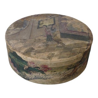 19th Century Chinese Painted Leather Box For Sale