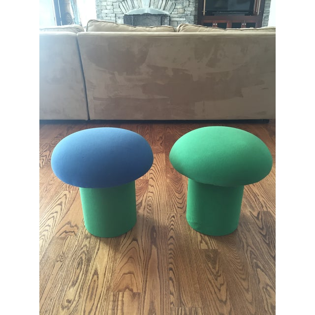 Memphis Style Mushroom Ottomans Stools - a Pair For Sale - Image 4 of 9