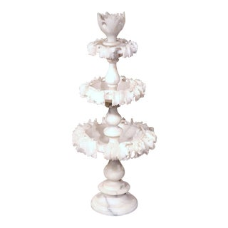 19th Century French 3-Tier Carved Alabaster Display Center Piece For Sale