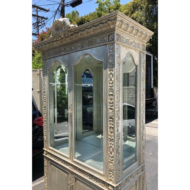 Phyllis Morris Huge Carved Designer Silver-Leaf Showcase Cabinet For Sale - Image 4 of 5