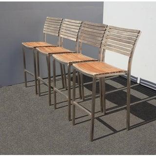 Vintage Industrial Teak Wood Slats and Metal Barstools - Set of 4 Preview