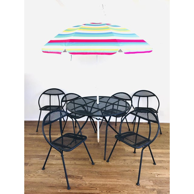 1960s Mid Century Modern Rid-Jid Folding Patio Table & 6 Chairs Set, 7 Pieces For Sale - Image 10 of 11