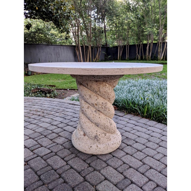 1980s Contemporary Round Travertine Dining Table For Sale - Image 4 of 11