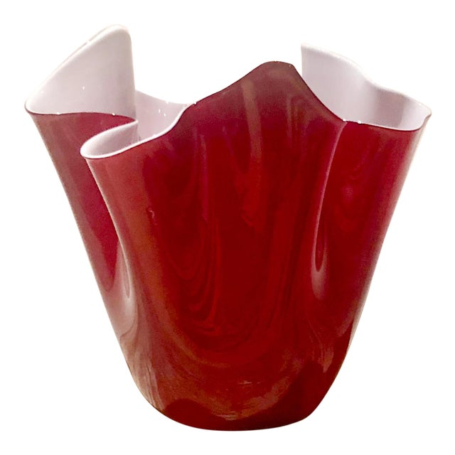 Large Red Venini Hankkerchief Vase, Italy For Sale