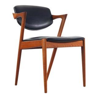 Kai Kristiansen Model 42 Side Chairs in Teak with Original Black Vinyl, Denmark For Sale