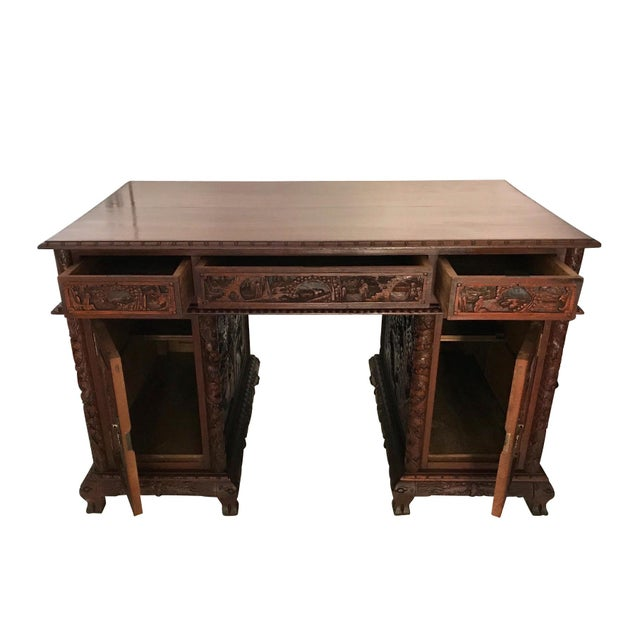 Ornate Chinese Rosewood Desk Image 5 Of 7
