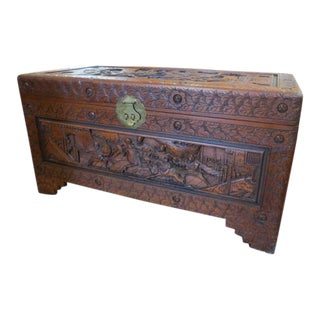 Vintage Asian Antique Style Carved Camphor Trunk For Sale