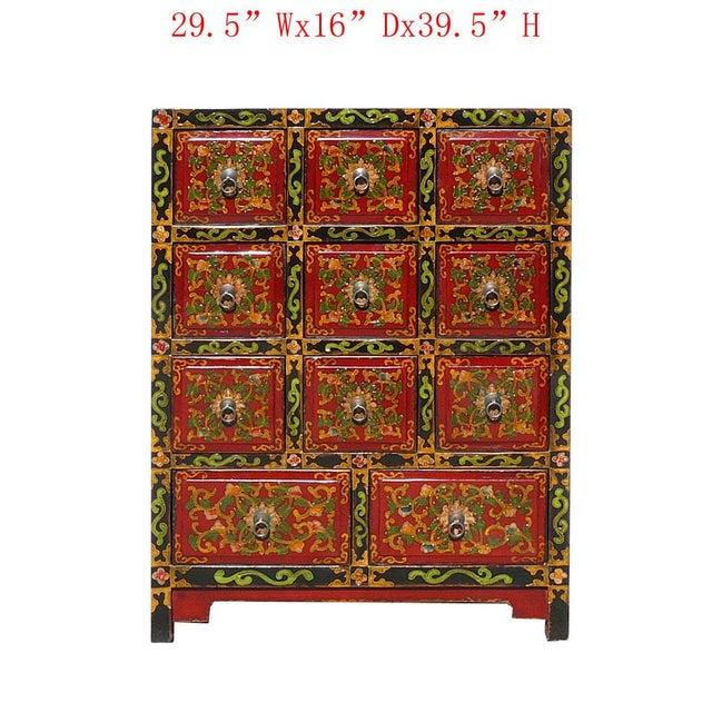 Oriental Tibetan Flower Graphic 11 Drawers Cabinet - Image 2 of 5