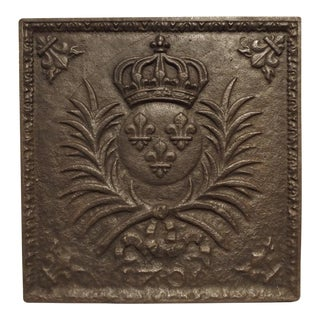 Antique Louis XIV Style Cast Iron French Fireback, the Arms of France For Sale