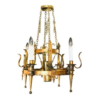 Gilded Spanish Style Metal Chandelier For Sale