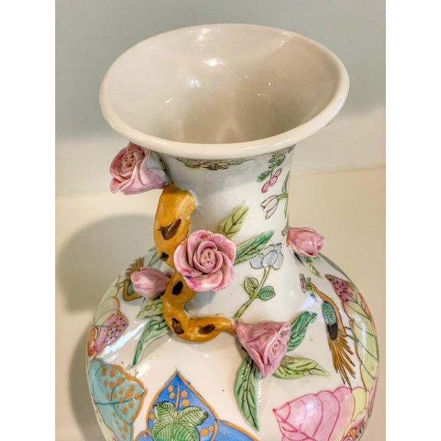Late 19th Century Tobacco Leaf Vase With Applied Flowers For Sale - Image 5 of 8