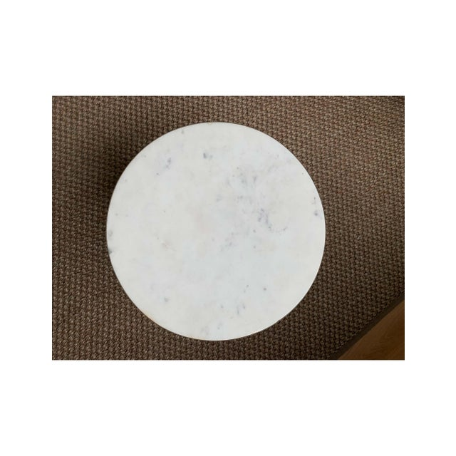 2010s Minimalist Cb2 Marble and Metal Side Table For Sale - Image 5 of 7