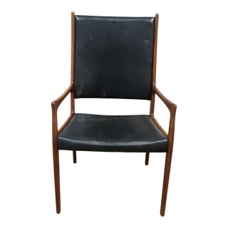 1960s Modern Danish Leather and Teak Chair For Sale