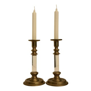 Lucite & Brass Candle Holders - A Pair For Sale