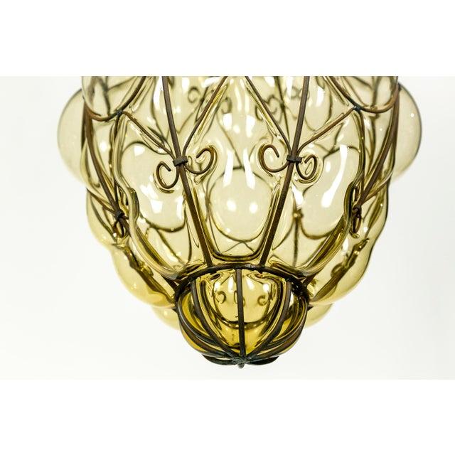 Orange Italian Iron Wire & Blown Glass Pendant For Sale - Image 8 of 13
