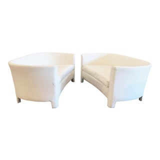 1960s White Vinyl Loveseats- Pair For Sale