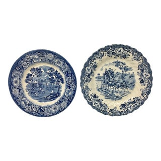 1950s Boho Chic Stoneware England Butter or Pickle Plates - a Pair For Sale