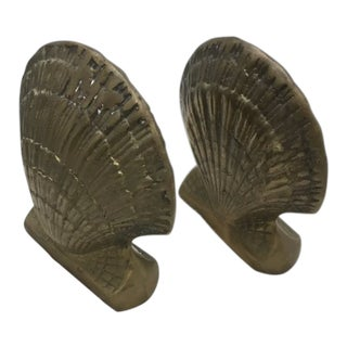 1960s Hollywood Regency Brass Shell Bookends - a Pair For Sale