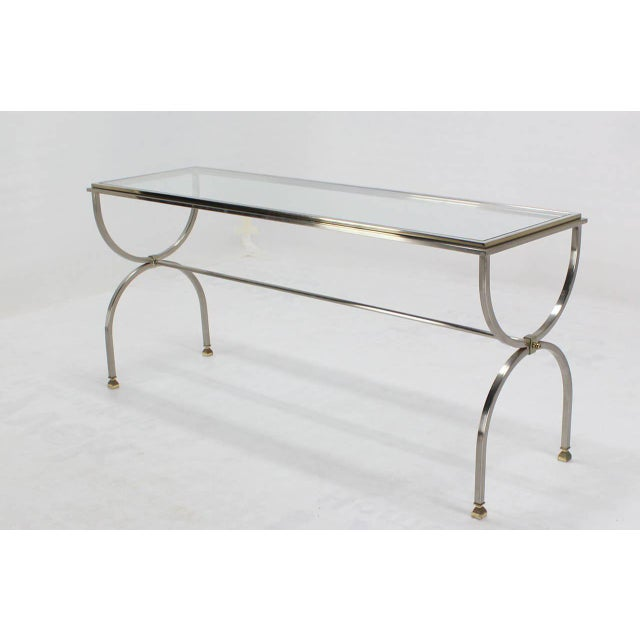 Chrome Brass & Glass Top Console Table For Sale - Image 4 of 6
