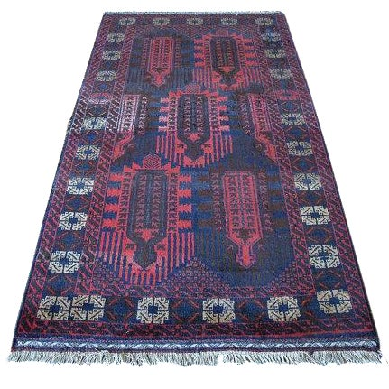 Vintage Navy & Red Persian Rug - 3′7″ × 6′5″ - Image 1 of 6