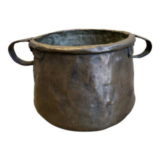 French Copper Pot With Handles - 19th C For Sale