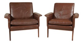 Image of Leather Bergere Chairs