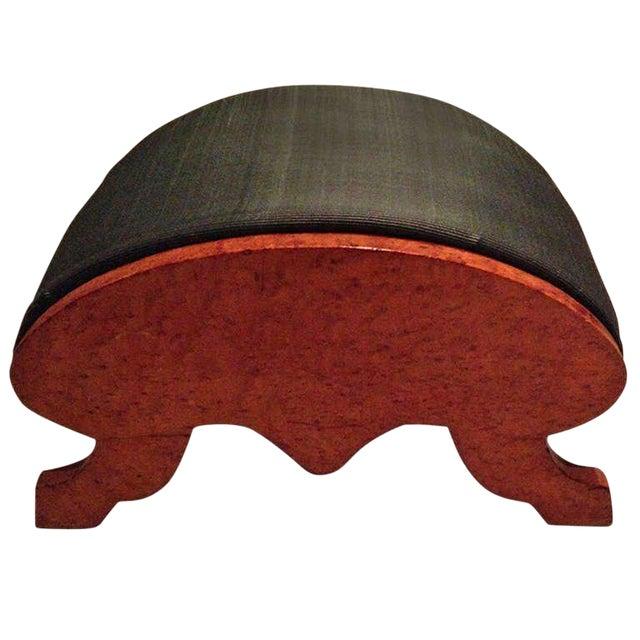 19th Century Biedermeier Burr Walnut Footstool Upholstered in Horsehair For Sale