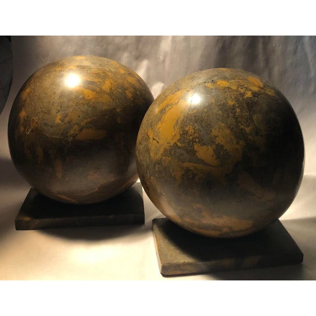 Green Heavy Marble Large Deco Style Bookends Vintage - A Pair For Sale - Image 8 of 8