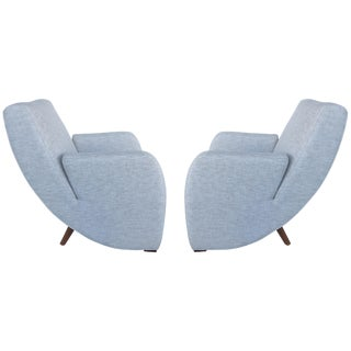 Mid-Century Modern Upholstered Club Chairs, Pair For Sale