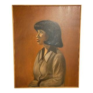 1980s Portrait Painting by Harriett J. Walker, Framed For Sale