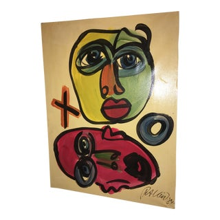 Peter Keil Abstract Faces Painting 1984