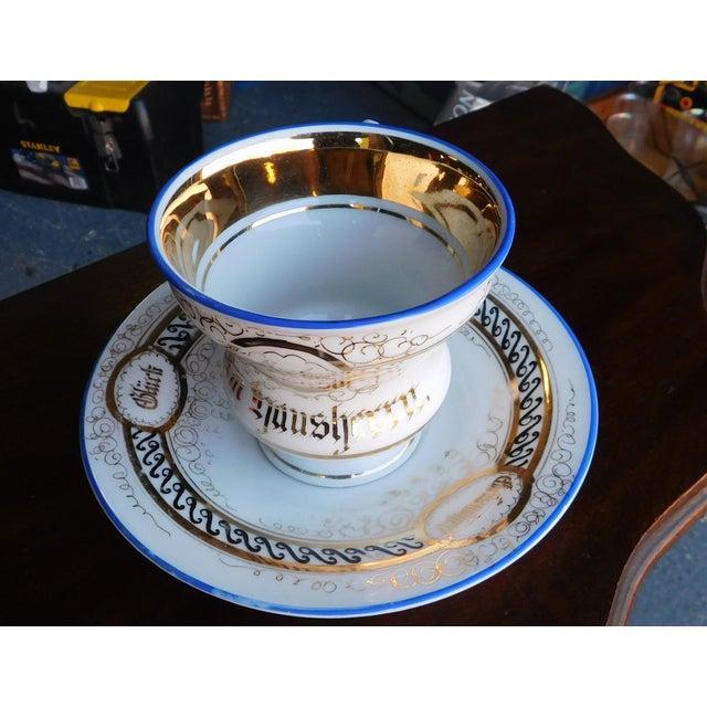 Metal Antique German Victorian Porcelain Dem Hausherrn Decorated Cup & Saucer C1900 For Sale - Image 7 of 9
