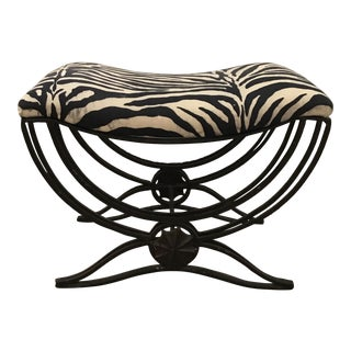 Art Deco Style Hand Forged Iron Upholstered Bench